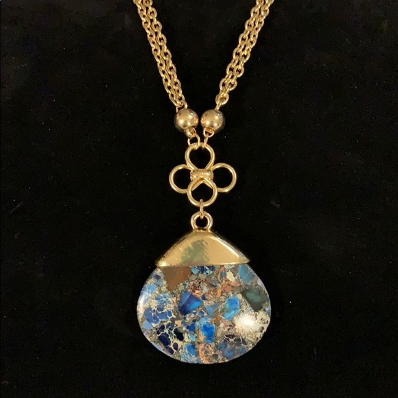 Buckle Turquoise Pendent Stone Chain Necklace